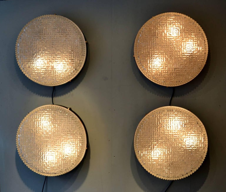 Large Flush Mount Glass Pendant of wall lights by N Leuchten For Sale 6