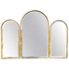 Large 1960s French Triptych Brass Mirror