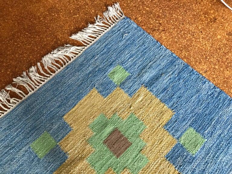 Large 1960s Geometric Indian Wool Handmade Area Rug Navajo Style For Sale 5