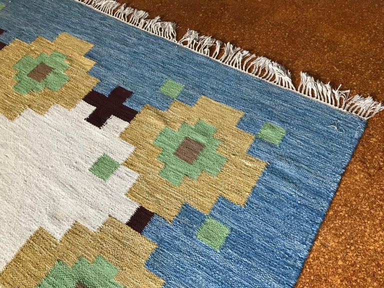 Large 1960s Geometric Indian Wool Handmade Area Rug Navajo Style For Sale 6