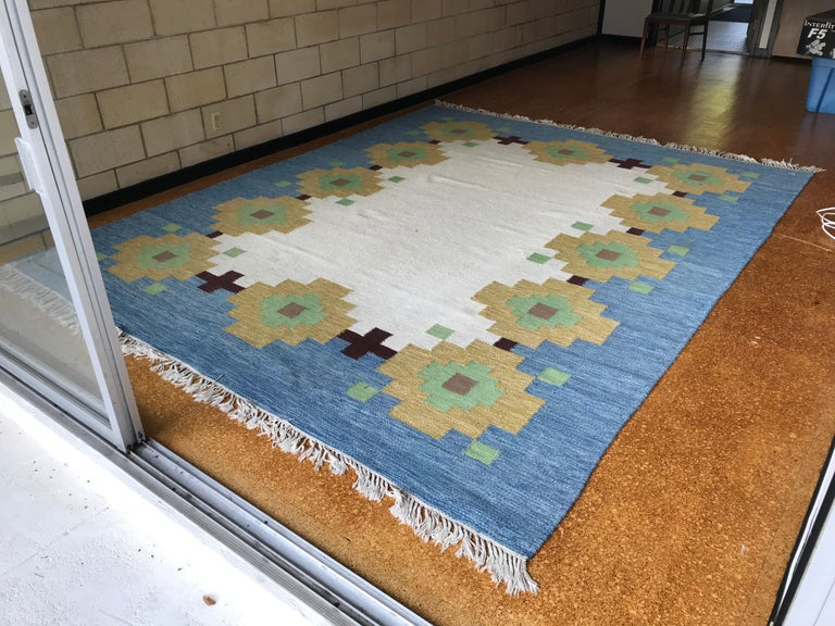 Beautiful massive area rug by Indian Cottage Industries (a group of small craftsman in India that produced under this company) reminiscent of a Navajo pattern - this rug came from a beautiful modernist residence in Indiana that was owned by art