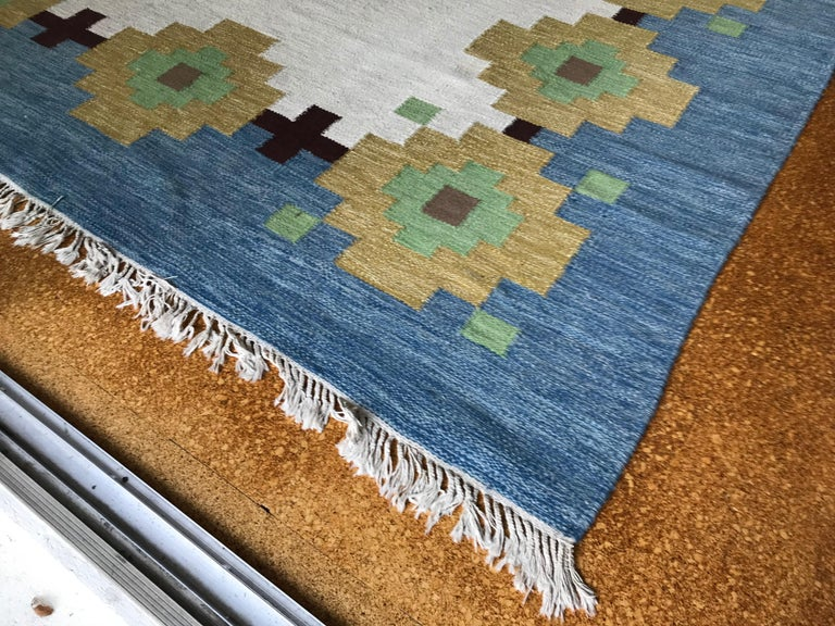 Anglo-Indian Large 1960s Geometric Indian Wool Handmade Area Rug Navajo Style For Sale