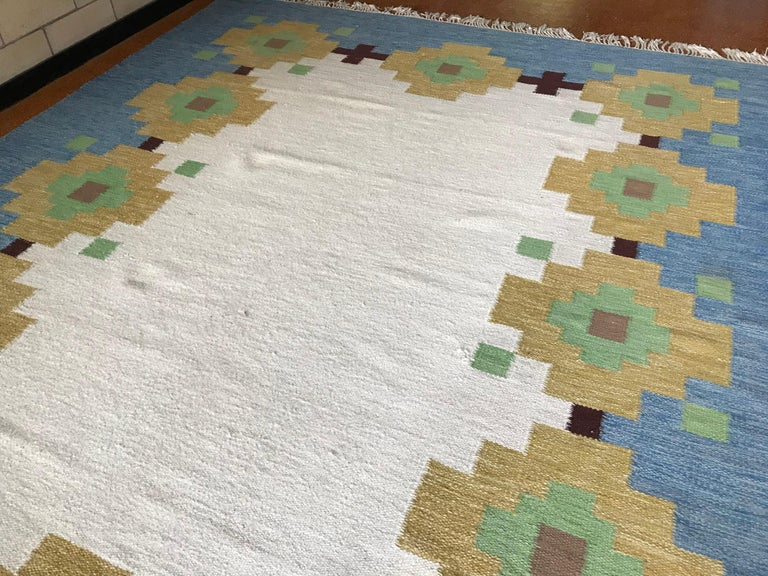Large 1960s Geometric Indian Wool Handmade Area Rug Navajo Style In Good Condition For Sale In St.Petersburg, FL
