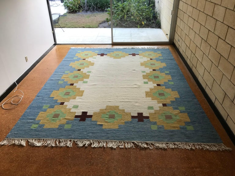 Mid-20th Century Large 1960s Geometric Indian Wool Handmade Area Rug Navajo Style For Sale