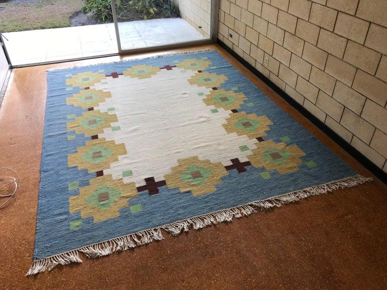 Large 1960s Geometric Indian Wool Handmade Area Rug Navajo Style For Sale 1