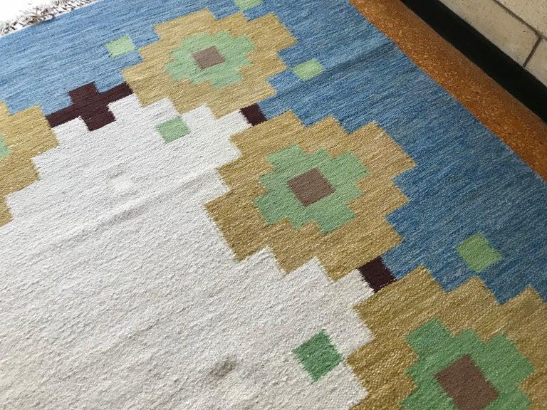 Large 1960s Geometric Indian Wool Handmade Area Rug Navajo Style For Sale 2