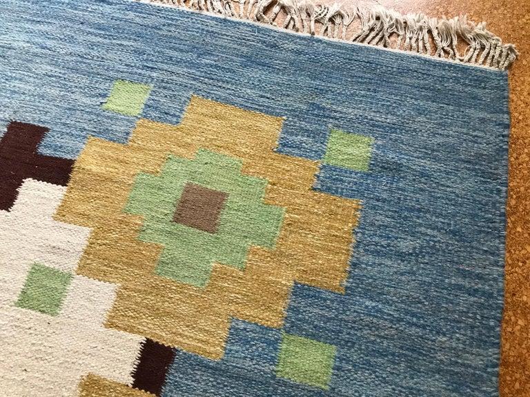 Large 1960s Geometric Indian Wool Handmade Area Rug Navajo Style For Sale 3