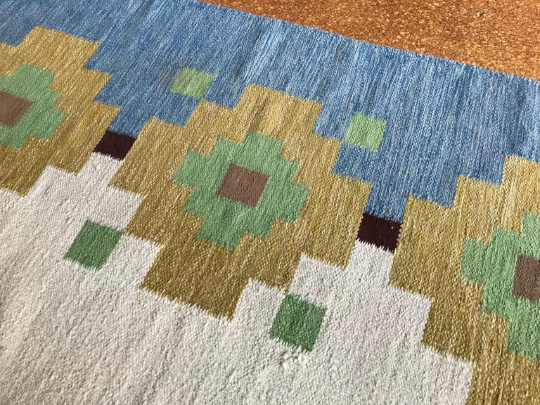 Large 1960s Geometric Indian Wool Handmade Area Rug Navajo Style For Sale 4