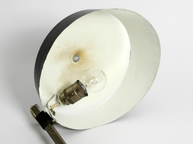 Large 1960s Industrial Aluminum Table Lamp with Height-Adjustable Shade For Sale 6