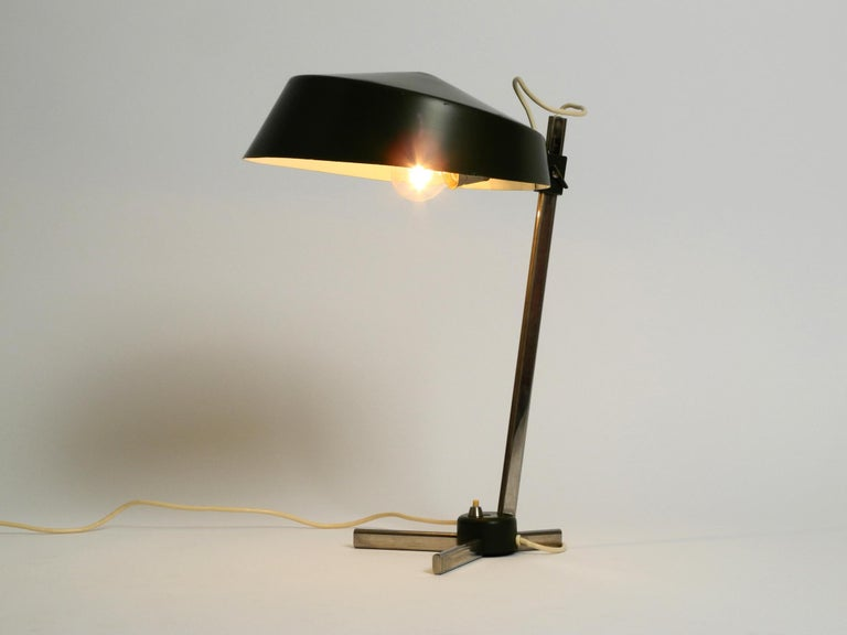 German Large 1960s Industrial Aluminum Table Lamp with Height-Adjustable Shade For Sale