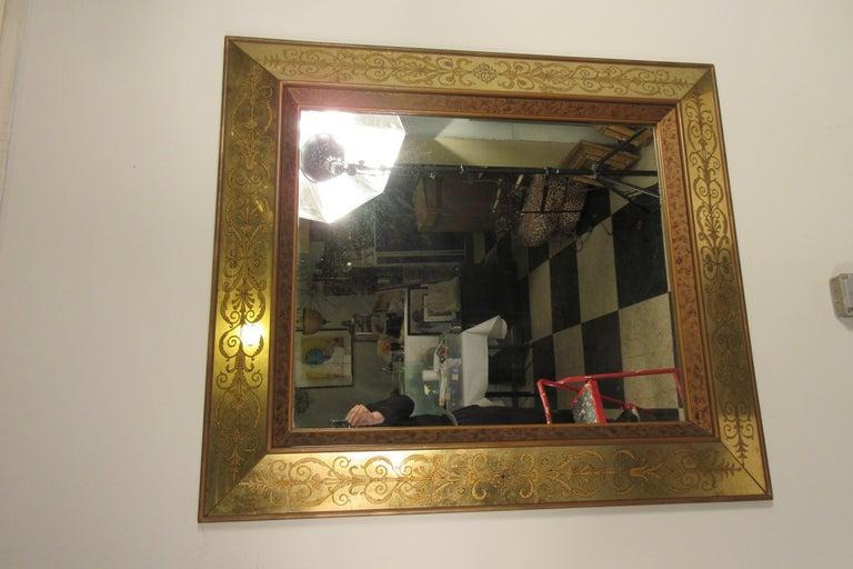 Mid-20th Century Large 1960s Italian Églomisé Mirror For Sale