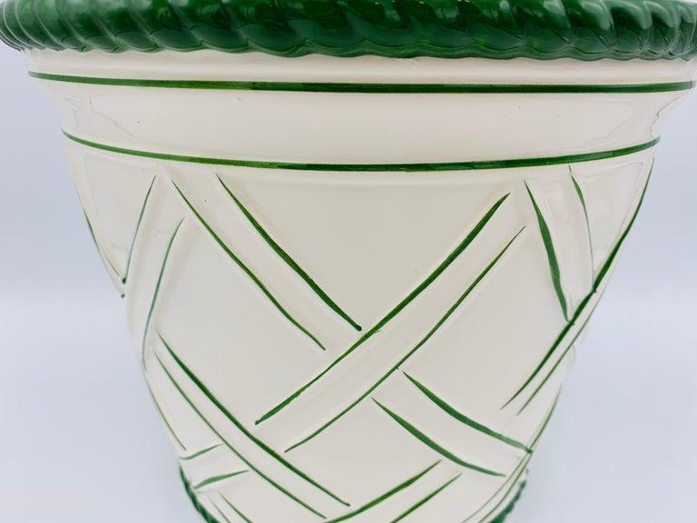 Glazed Large 1960s Italian Green and White Ceramic Lattice Motif Cachepot For Sale