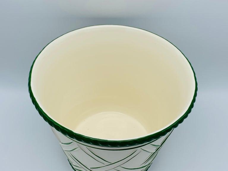 20th Century Large 1960s Italian Green and White Ceramic Lattice Motif Cachepot For Sale