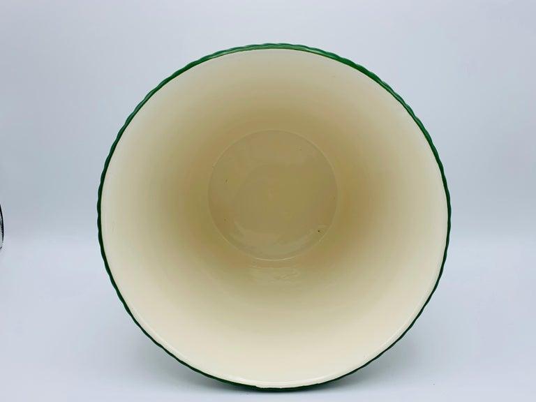 Large 1960s Italian Green and White Ceramic Lattice Motif Cachepot For Sale 1