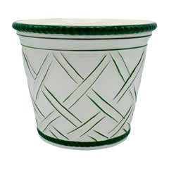 Large 1960s Italian Green and White Ceramic Lattice Motif Cachepot