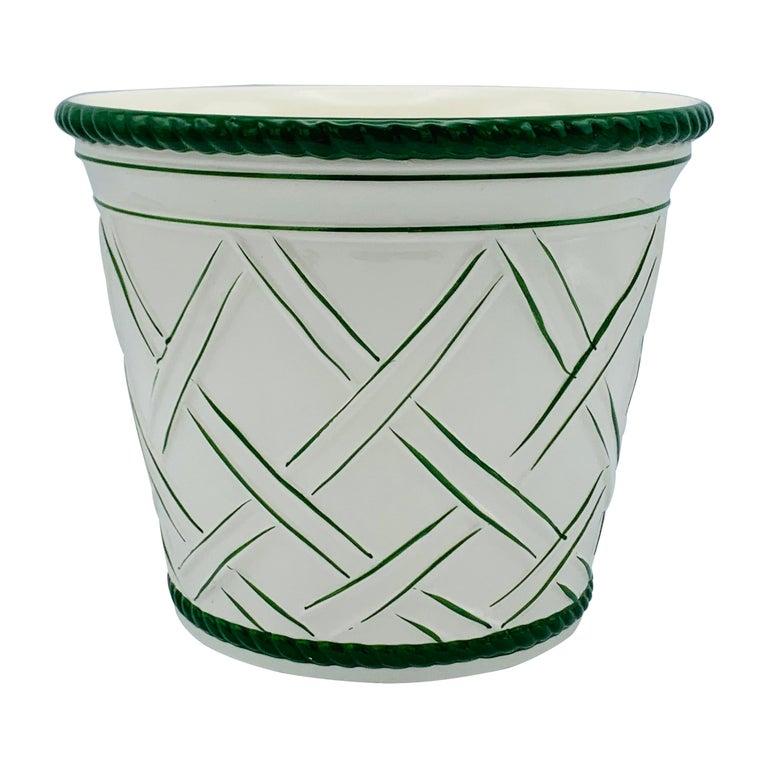 Large 1960s Italian Green and White Ceramic Lattice Motif Cachepot For Sale