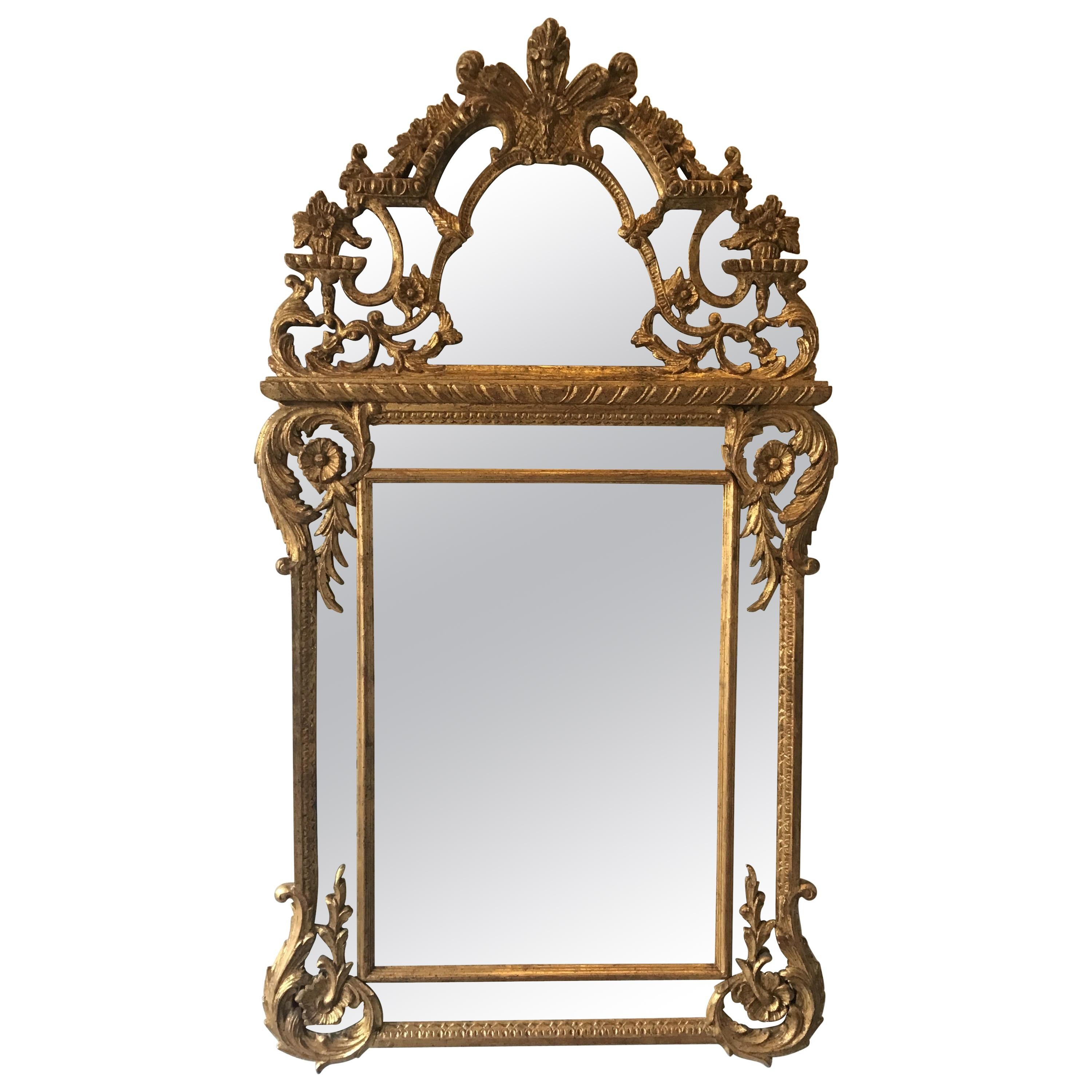 Large 1960s Italian Hand Carved Giltwood Mirror
