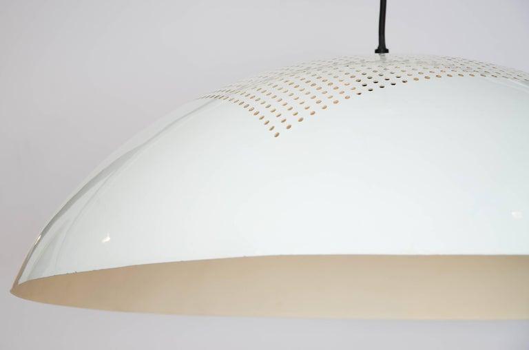 Enameled Large 1960s Italian Minimalist White Metal Pendant For Sale
