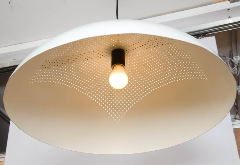 Large 1960s Italian Minimalist White Metal Pendant In Excellent Condition For Sale In London, GB