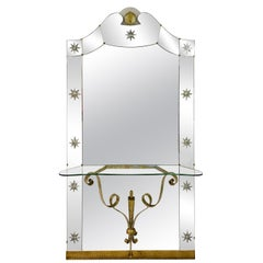 Large 1960s Italian Mirror Console by Pierluigi Colli for Crystal Art
