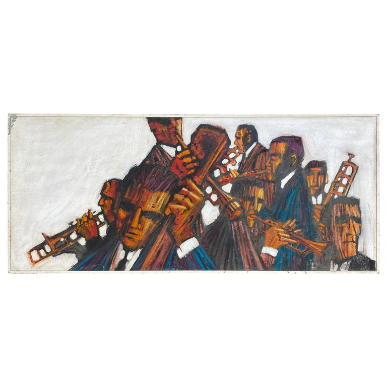 "Large 1960s ""Jazz"" Painting, Oil on Wood, Musicians, Signed Mahoney For Sale"