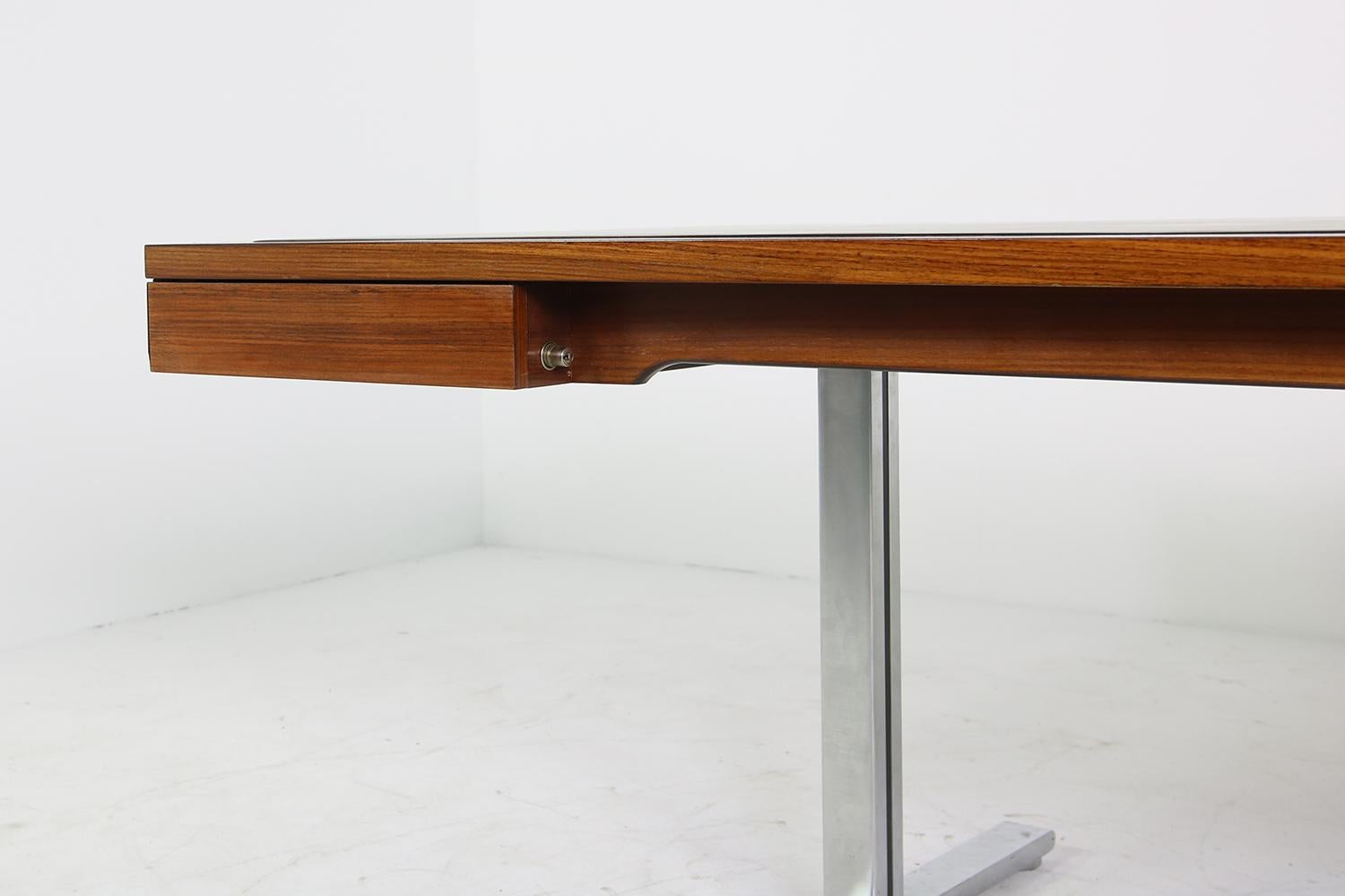 Large 1960s Knoll Art Collection Executive Desk With Leather And Two  Sideboards