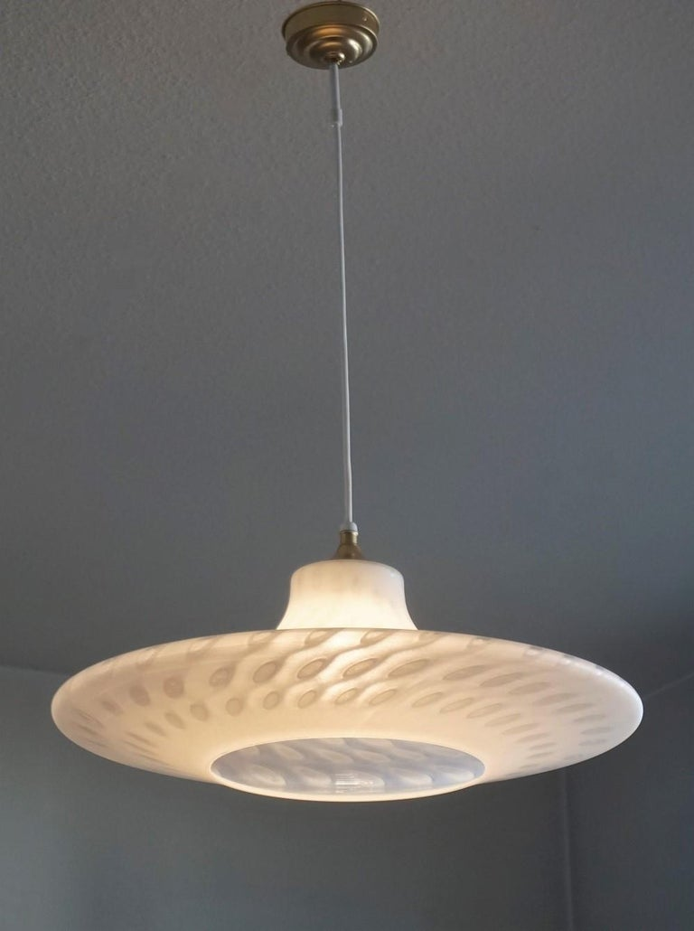 Large 1960s Peill & Putzler Murano Glass Fluch Mount Stilnovo Style For Sale 4