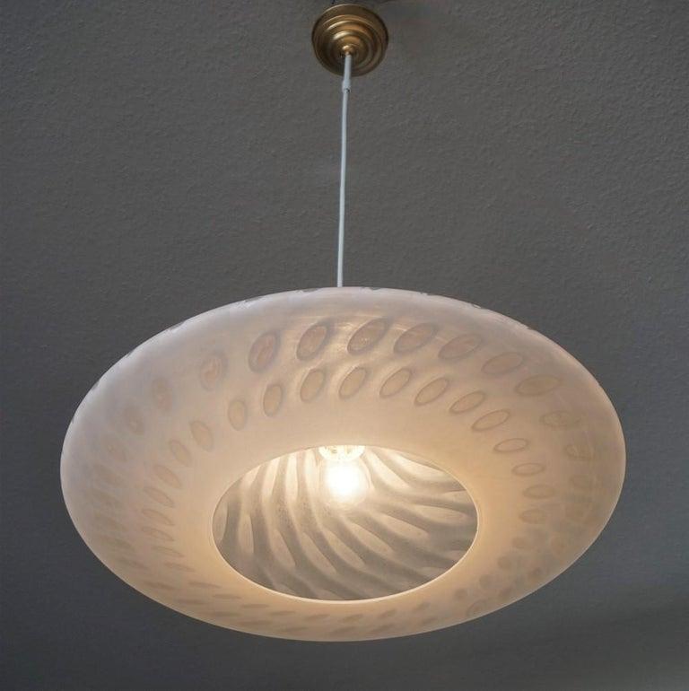 Large 1960s Peill & Putzler Murano Glass Fluch Mount Stilnovo Style For Sale 6