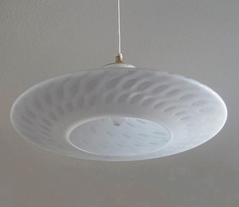 Art Deco Large 1960s Peill & Putzler Murano Glass Fluch Mount Stilnovo Style For Sale