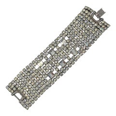 Large 1960s Rhinestone Hollywood Glam Vintage Statement 60s Bracelet Cuff