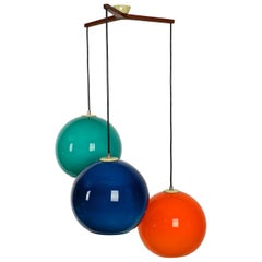 Large 1960s Scandinavian Colorful Bubble Glass Cascade Pendant Lamp