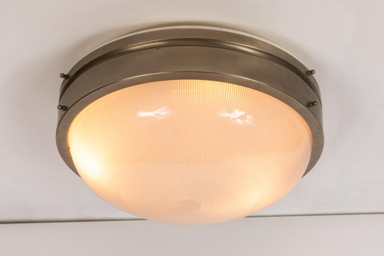 Large 1960s Sergio Mazza wall or ceiling light for Artemide. Executed in nickeled brass and pressed opaline glass by Sergio Mazza for Artemide, Italy, circa 1960s.