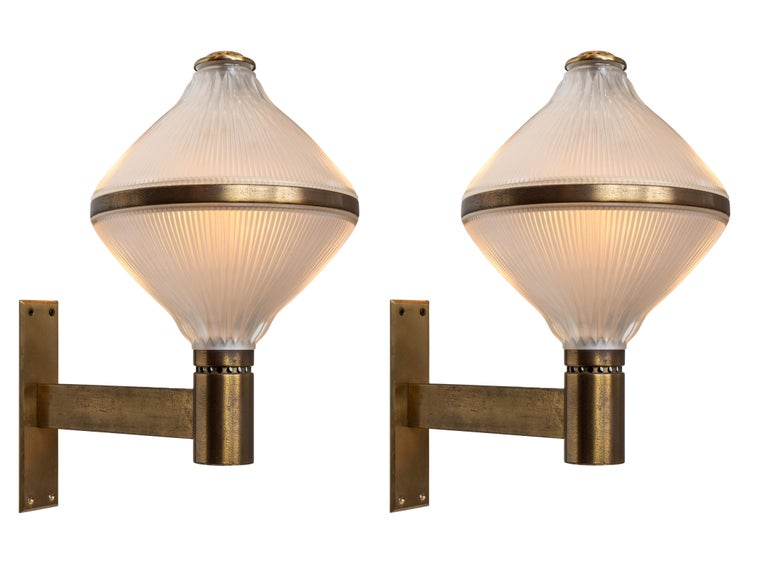 Mid-Century Modern Large 1960s Studio B.B.P.R Brass Sconces For Sale