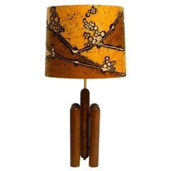 Large 1960s Table Lamp by Temde Made of Teak and with Hand Painted Lampshade