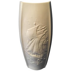 Large 1960s White Vase Sailing Ship by Schumann of Arzberg in Bavaria, Germany