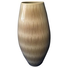 Large 1960s White Vase with Gold Stripes by Thomas of Rosenthal, Germany