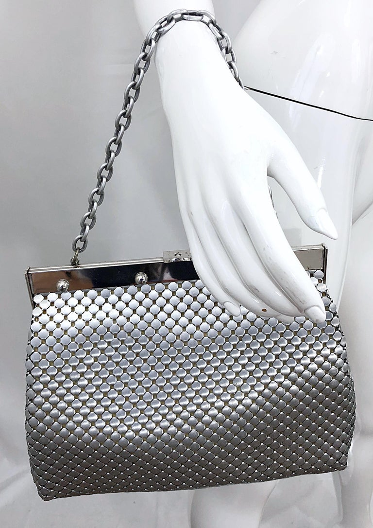 Large 1960s Whiting & Davis Silver Chainmail 60s Hand Shoulder Bag Mod Purse For Sale 7