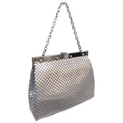Large 1960s Whiting & Davis Silver Chainmail 60s Hand Shoulder Bag Mod Purse