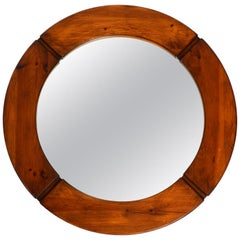 Large 1960s Wood Wall Mirror by Pedersen and Hansen for Masonite, Sweden