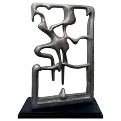 Large 1970s Aluminum Abstract Drip Sculpture on Wood Base