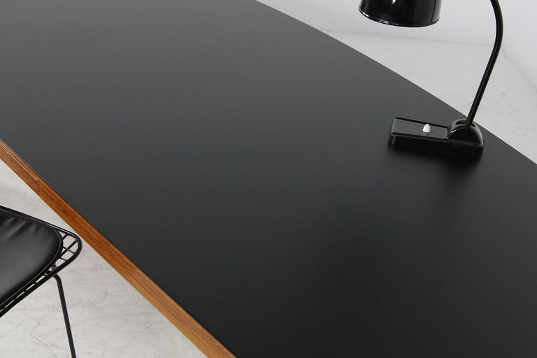 Large 1970s Architect's Executive Desk, Plywood, Black Formica Writing Table For Sale 4