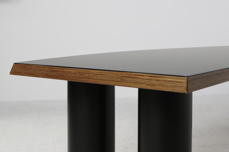 Large 1970s Architect's Executive Desk, Plywood, Black Formica Writing Table For Sale 6