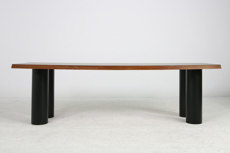 Modern Large 1970s Architect's Executive Desk, Plywood, Black Formica Writing Table For Sale