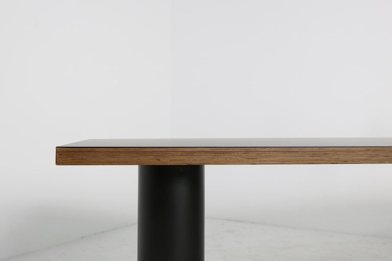 Late 20th Century Large 1970s Architect's Executive Desk, Plywood, Black Formica Writing Table For Sale
