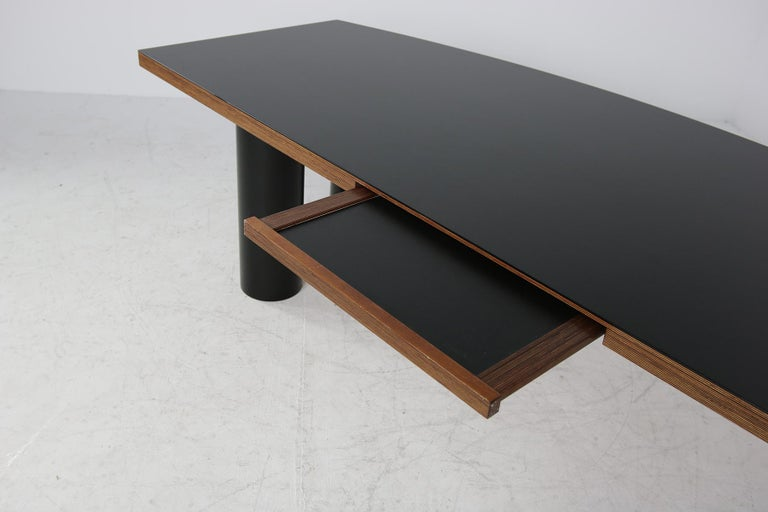 Large 1970s Architect's Executive Desk, Plywood, Black Formica Writing Table For Sale 1