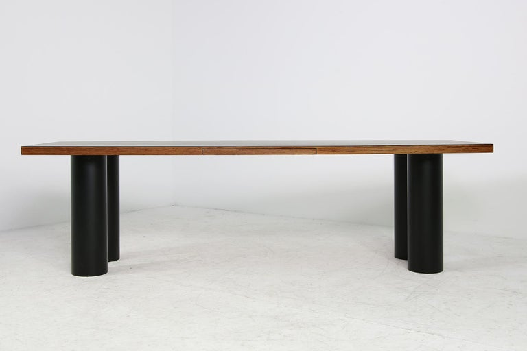 Large 1970s Architect's Executive Desk, Plywood, Black Formica Writing Table For Sale 3