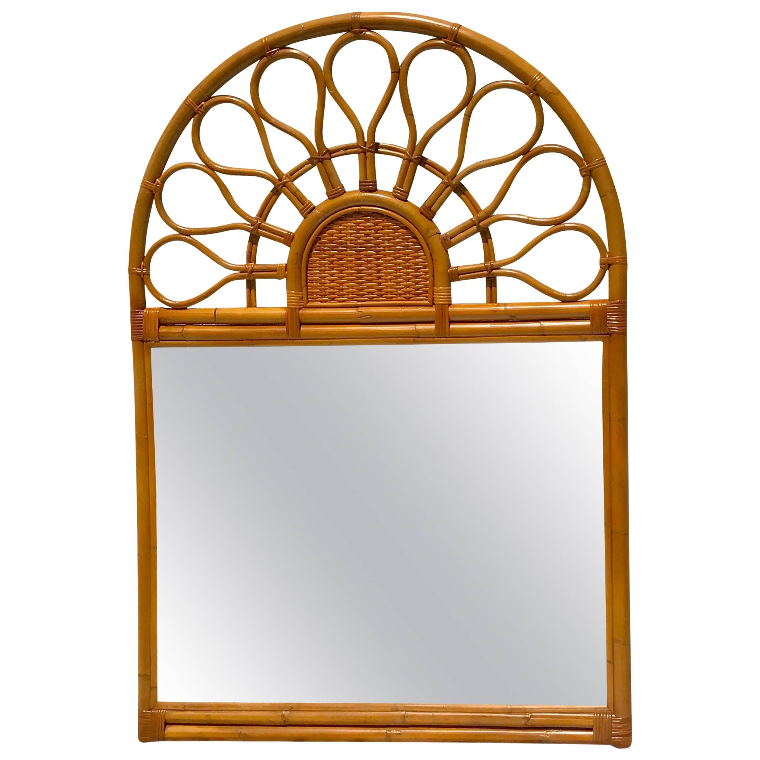Large 1970s Bamboo Mirror