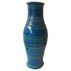 Large 1970s Blue Rimini Flavia Montelupo Bitossi Glazed Ceramic Vase