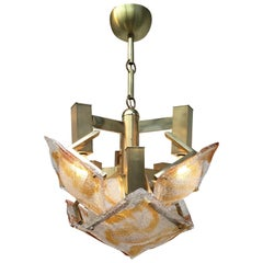 Large 1970s Brutalist Chandelier Mazzega Murano Brass and Glass