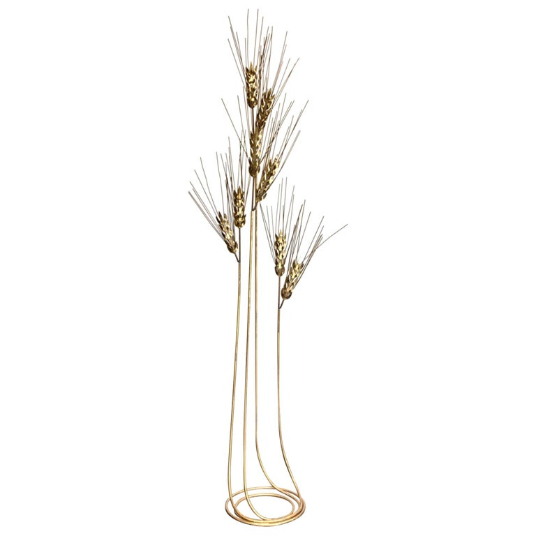 Large 1970s Curtis Jere Floor Standing Brass and Metal Wheat Sheaf Sculpture For Sale
